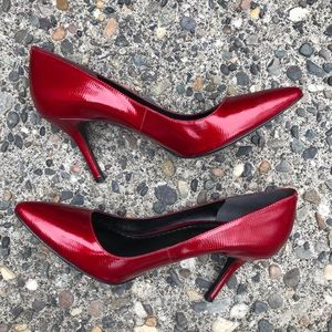 Enzo Angiolini Red Patent Pumps